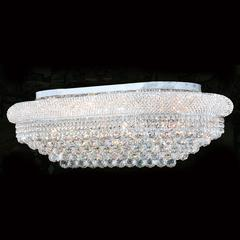 """Empire Collection 18 Light Chrome Finish and Clear Crystal Flush Mount Ceiling Light 36"""" L x 20"""" W x 12"""" H Rectangle Extra Large"""
