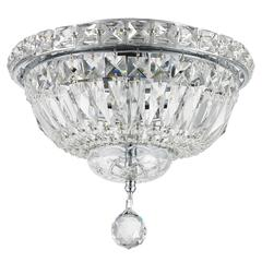 """Empire Collection 4 Light Chrome Finish and Clear Crystal Flush Mount Ceiling Light 10"""" D x 8"""" H Round Small"""