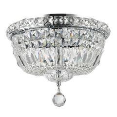 """Empire Collection 4 Light Chrome Finish and Clear Crystal Flush Mount Ceiling Light 12"""" D x 9"""" H Round Small"""