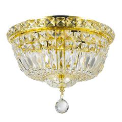 """Empire Collection 4 Light Gold Finish and Clear Crystal Flush Mount Ceiling Light 12"""" D x 9"""" H Round Small"""