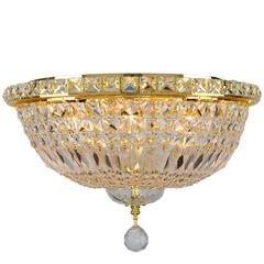 """Empire Collection 6 Light Gold Finish and Clear Crystal Flush Mount Ceiling Light 16"""" D x 10"""" H Round Medium"""