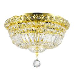 """Empire Collection 4 Light Gold Finish and Clear Crystal Flush Mount Ceiling Light 14"""" D x 9"""" H Round Medium"""