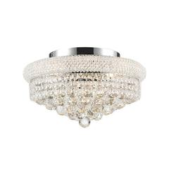 """Empire Collection 8 Light Chrome Finish and Clear Crystal Flush Mount Ceiling Light 16"""" D x 8"""" H Medium"""