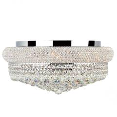 """Empire Collection 10 Light Chrome Finish and Clear Crystal Flush Mount Ceiling Light 20"""" D x 10"""" H Large"""