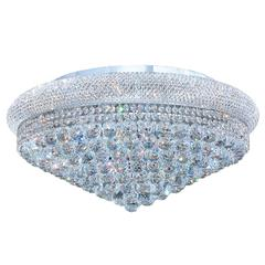 """Empire Collection 15 Light Chrome Finish and Clear Crystal Flush Mount Ceiling Light 28"""" D x 13"""" H Extra Large"""