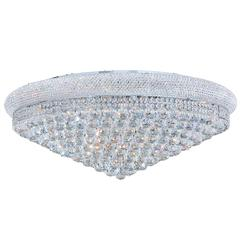 """Empire Collection 20 Light Chrome Finish and Clear Crystal Flush Mount Ceiling Light 36"""" D x 14"""" H Extra Large"""