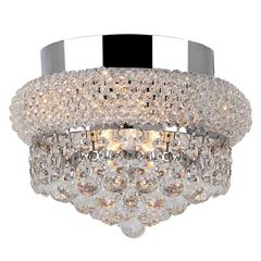 """Empire Collection 3 Light Chrome Finish and Clear Crystal Flush Mount Ceiling Light 8"""" D x 6"""" H Small"""