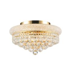 """Empire Collection 8 Light Gold Finish and Clear Crystal Flush Mount Ceiling Light 16"""" D x 8"""" H Medium"""