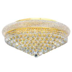 """Empire Collection 15 Light Gold Finish and Clear Crystal Flush Mount Ceiling Light 28"""" D x 13"""" H Extra Large"""