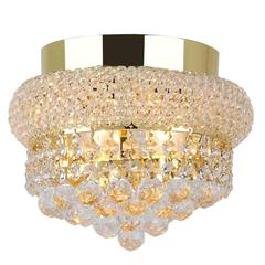 """Empire Collection 3 Light Gold Finish and Clear Crystal Flush Mount Ceiling Light 8"""" D x 6"""" H Small"""