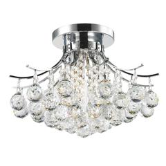 """Empire Collection 3 Light Chrome Finish and Clear Crystal Flush Mount Ceiling Light 16"""" D x 12"""" H Round Medium"""