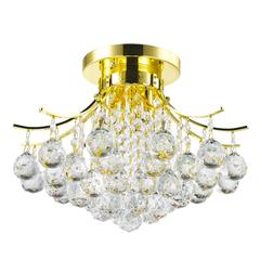 """Empire Collection 3 Light Gold Finish and Clear Crystal Flush Mount Ceiling Light 16"""" D x 12"""" H Round Medium"""