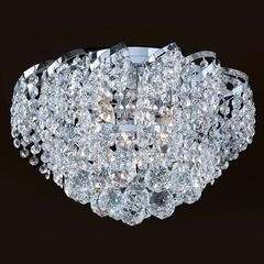 "Empire Collection 6 Light Chrome Finish and Clear Crystal Flush Mount Ceiling Light 16"" D x 9"" H Round Medium"