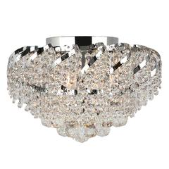 """Empire Collection 6 Light Chrome Finish and Clear Crystal Flush Mount Ceiling Light 16"""" D x 9"""" H Round Medium"""