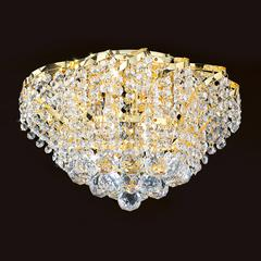 "Empire Collection 6 Light Gold Finish and Clear Crystal Flush Mount Ceiling Light 16"" D x 9"" H Round Medium"