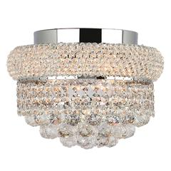 """Empire Collection 4 Light Chrome Finish and Clear Crystal Flush Mount Ceiling Light 12"""" D x 6"""" H Round Small"""