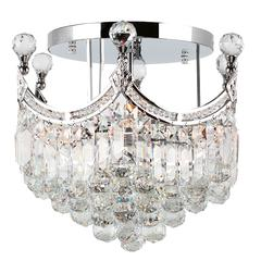 """Empire Collection 6 Light Chrome Finish and Clear Crystal Flush Mount Ceiling Light 16"""" D x 15"""" H Round Medium"""