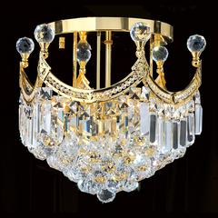 """Empire Collection 6 Light Gold Finish and Clear Crystal Flush Mount Ceiling Light 16"""" D x 15"""" H Round Medium"""