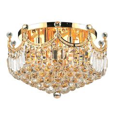 """Empire Collection 9 Light Gold Finish and Clear Crystal Flush Mount Ceiling Light 20"""" D x 16"""" H Round Large"""