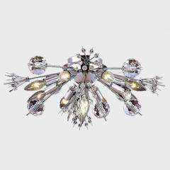 "Starburst Collection 10 Light Chrome Finish Crystal Sputnik Flush Mount Ceiling Light 20"" D x 8"" H Large"