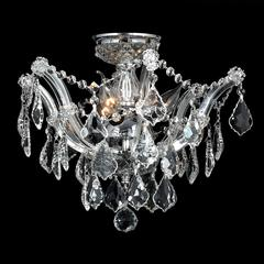 "Bayou Collection 3 Light Chrome Finish and Clear Crystal Semi-Flush Mount Ceiling Light 16"" D x 14"" H Medium"