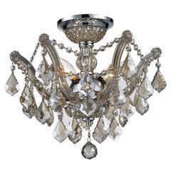 "Bayou Collection 3 Light Chrome Finish and Golden Teak Crystal Semi-Flush Mount Ceiling Light 16"" D x 14"" H Medium"