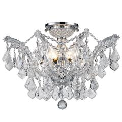 """Bayou Collection 6 Light Chrome Finish and Clear Crystal Semi-Flush Mount Ceiling Light 20"""" D x 15"""" H Large"""
