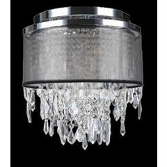"""Tempest Collection 4 Light Chrome Finish Crystal Flush Mount Ceiling Light 12"""" D x 13"""" H Small"""