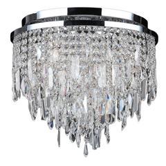 "Tempest Collection 5 Light Chrome Finish Crystal Flush Mount Ceiling Light 16"" D x 15"" H Medium"