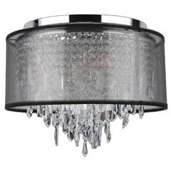 """Tempest Collection 5 Light Chrome Finish Crystal Flush Mount Ceiling Light with Black Organza Shade 16"""" D x 15"""" H Medium"""