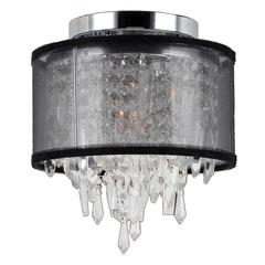 """Tempest Collection 1 Light Chrome Finish Crystal Flush Mount Ceiling Light with Black Organza Shade 8"""" D x 10"""" H Small"""