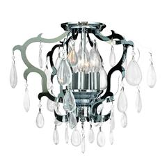 "Henna Collection 6 Light Chrome Finish Crystal Flush Mount Ceiling Light 16"" D x 14"" H Medium"
