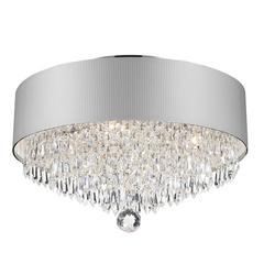 "Gatsby Collection 4 Light Chrome Finish Crystal Flush Mount with Black Acrylic Shade 16"" D x 10"" H Medium"