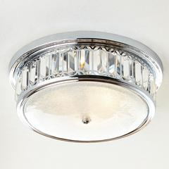 """Parlour Collection 4 Light Chrome Finish and Clear Crystal Flush Mount Ceiling Light 14"""" D x 5.5"""" H Round Medium"""