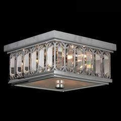 "Athens Collection 4 Light Chrome Finish and Clear Crystal Flush Mount Ceiling Light 10"" Square Small"