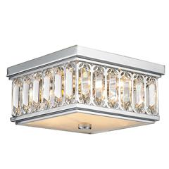 """Athens Collection 4 Light Chrome Finish and Clear Crystal Flush Mount Ceiling Light 10"""" Square Small"""
