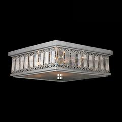 "Athens Collection 6 Light Chrome Finish and Clear Crystal Flush Mount Ceiling Light 14"" Square Medium"