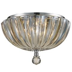 """Mansfield Collection 3 Light Chrome Finish and Golden Teak Crystal Bowl Flush Mount Ceiling Light 10"""" Small"""