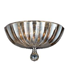 """Mansfield Collection 3 Light Chrome Finish and Golden Teak Crystal Bowl Flush Mount Ceiling Light 12"""" Small"""