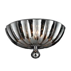 """Mansfield Collection 3 Light Chrome Finish and Smoke Crystal Bowl Flush Mount Ceiling Light 12"""" Small"""