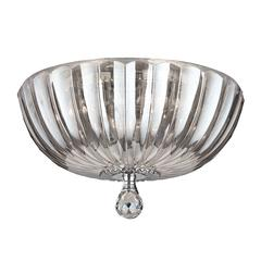 """Mansfield Collection 4 Light Chrome Finish and Clear Crystal Bowl Flush Mount Ceiling Light 14"""" Medium"""