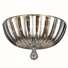 "Mansfield Collection 4 Light Chrome Finish and Golden Teak Crystal Bowl Flush Mount Ceiling Light 14"" Medium"