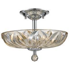 "Mansfield Collection 4 Light Chrome Finish and Golden Teak Crystal Bowl Semi Flush Mount Ceiling Light 16"" Medium"