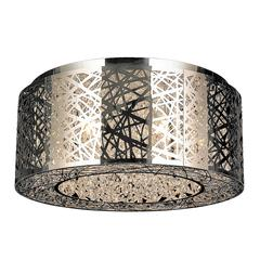 """Aramis Collection 9 Light Halogen Chrome Finish Drum Shade with Clear Crystal Flush Mount Ceiling Light 20"""" D x 8"""" H Large"""