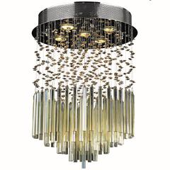 "Torrent Collection 5 Light Chrome Finish and Golden Teak Crystal Flush Mount Ceiling Light 16"" D x 22"" H Round Medium"