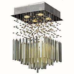 """Torrent Collection 4 Light Chrome Finish and Golden Teak Crystal Flush Mount Ceiling Light 12"""" L x 12"""" W x 18"""" H Square Small"""