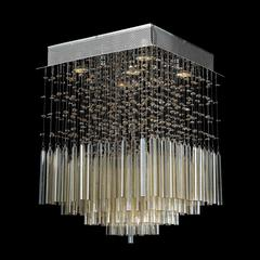 "Torrent Collection 5 Light Chrome Finish and Golden Teak Crystal Flush Mount Ceiling Light 16"" L x 16"" W x 22"" H Square Medium"