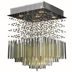 "Torrent Collection 5 Light Chrome Finish and Golden Teak Crystal Flush Mount Ceiling Light 16"" L x 16"" W x 22"" H Square Medium"