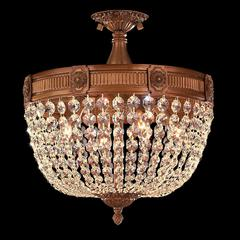 """Winchester Collection 4 Light French Gold Finish and Golden Teak Crystal Semi Flush Mount Ceiling Light 16"""" D x 15"""" H Medium"""