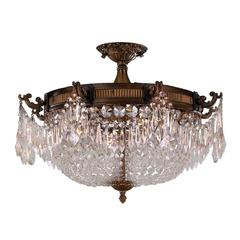 """Winchester Collection 4 Light Antique Bronze Finish and Clear Crystal Semi Flush Mount Ceiling Light 24"""" D x 16"""" H Extra Large"""